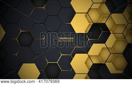 Dark Gray And Yellow Hexagonal Technology Abstract Vector Background. Yellow Bright Energy Flashes U