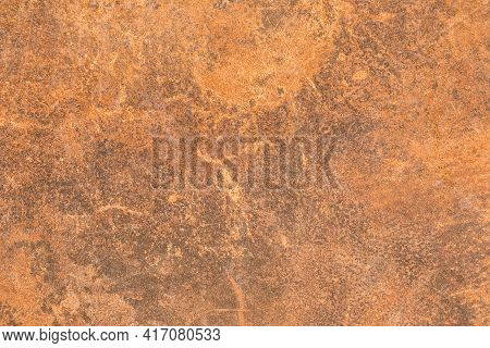 Rusty Abstract Brown Pattern Of Old Metal Texture Background.