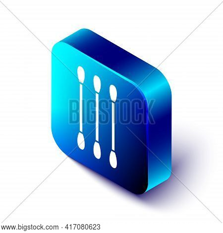 Isometric Cotton Swab For Ears Icon Isolated On White Background. Blue Square Button. Vector