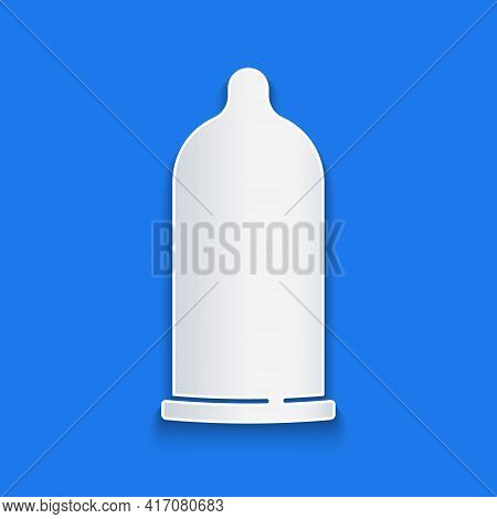 Paper Cut Condom Safe Sex Icon Isolated On Blue Background. Safe Love Symbol. Contraceptive Method F