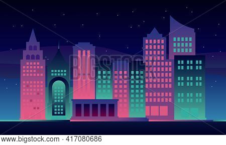 Illustration Of A View Of Skyscrapers In A Modern City On A Starry Night. Perfect For Design Element
