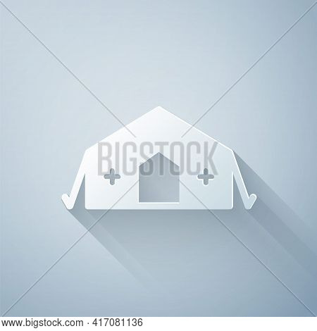 Paper Cut Military Medical Tent Providing First Aid To A Patient Icon Isolated On Grey Background. M