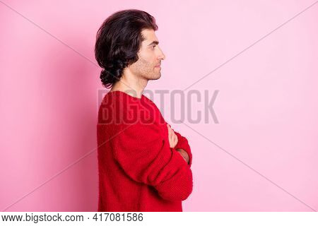 Profile Side Photo Of Young Serious Confident Bossy Handsome Man Look Copyspace With Crossed Arms Is