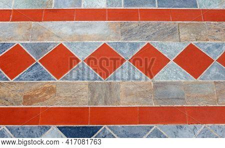 Beautiful Pavement Of Red And Grey Clinker Brick. Walking Path
