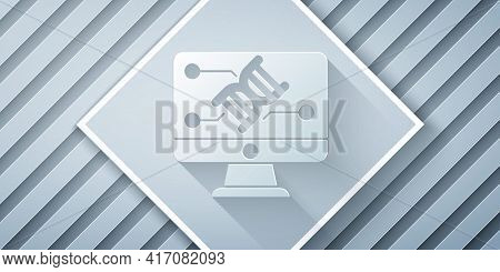 Paper Cut Genetic Engineering Modification On Monitor Icon Isolated On Grey Background. Dna Analysis