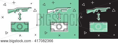 Set Buying Assault Rifle With Price Tag Icon Isolated On White And Green, Black Background. Buying W