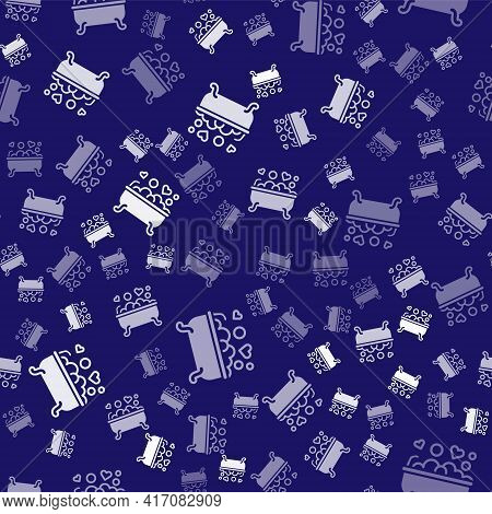 White Romantic In Bathroom Icon Isolated Seamless Pattern On Blue Background. Concept Romantic Date.