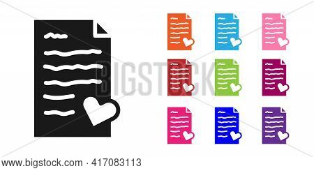 Black Envelope With Valentine Heart Icon Isolated On White Background. Message Love. Letter Love And