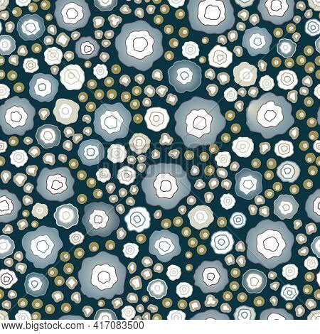 Vector Seamless Bright Colorful Gentle Hand Drawn Little Ditsy, Daisy Flower Pattern, Summer Garden,