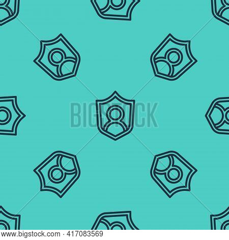 Black Line User Protection Icon Isolated Seamless Pattern On Green Background. Secure User Login, Pa