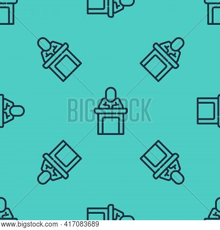 Black Line Speaker Icon Isolated Seamless Pattern On Green Background. Orator Speaking From Tribune.