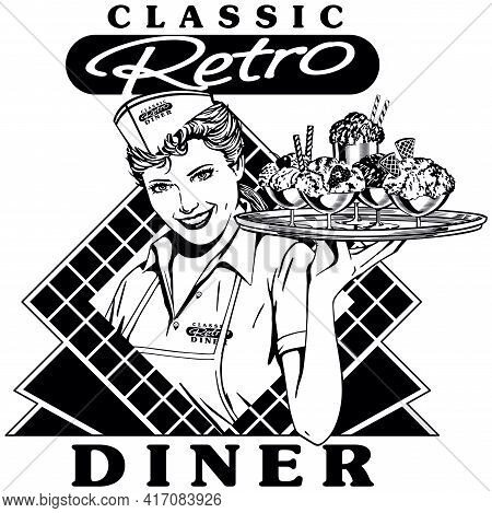 Retro Diner Waitress 2 - Classic Soda Shop Server