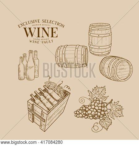 Wine Barrels And Vessels, Wine Bottles, Grape Brush, Wine Cellar In Retro Style.