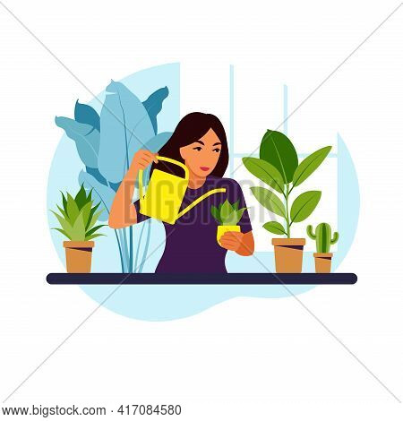 Woman Watering Houseplants At Home. Lifestyle, Home Garden And Houseplants Concept. Flat Vector Illu