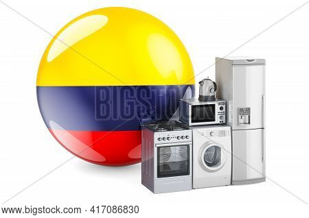 Kitchen And Household Appliances With Colombian Flag. Production, Shopping And Delivery Of Home Appl
