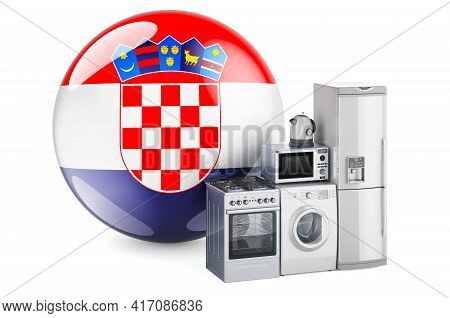 Kitchen And Household Appliances With Croatian Flag. Production, Shopping And Delivery Of Home Appli