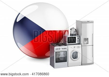 Kitchen And Household Appliances With Czech Flag. Production, Shopping And Delivery Of Home Applianc