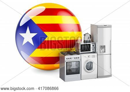 Kitchen And Household Appliances With Catalan Flag. Production, Shopping And Delivery Of Home Applia