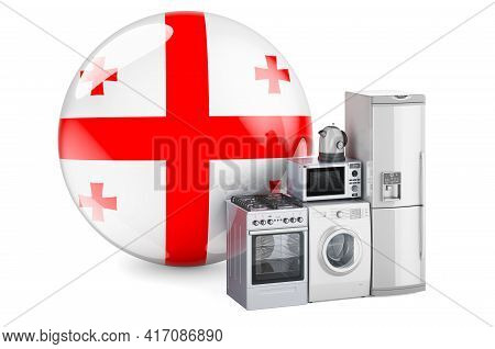 Kitchen And Household Appliances With Georgian Flag. Production, Shopping And Delivery Of Home Appli
