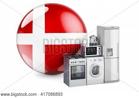 Kitchen And Household Appliances With Danish Flag. Production, Shopping And Delivery Of Home Applian