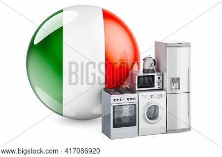 Kitchen And Household Appliances With Irish Flag. Production, Shopping And Delivery Of Home Applianc