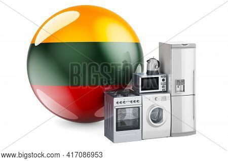 Kitchen And Household Appliances With Lithuanian Flag. Production, Shopping And Delivery Of Home App
