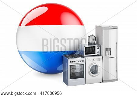 Kitchen And Household Appliances With Luxembourgish Flag. Production, Shopping And Delivery Of Home