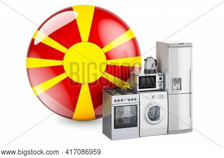 Kitchen And Household Appliances With Macedonian Flag. Production, Shopping And Delivery Of Home App