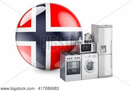 Kitchen And Household Appliances With Norwegian Flag. Production, Shopping And Delivery Of Home Appl