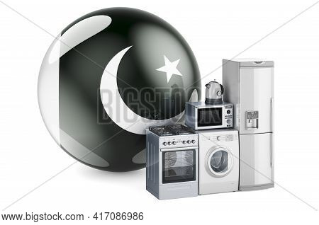 Kitchen And Household Appliances With Pakistani Flag. Production, Shopping And Delivery Of Home Appl