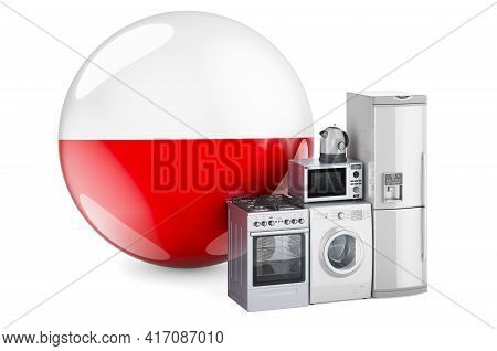 Kitchen And Household Appliances With Polish Flag. Production, Shopping And Delivery Of Home Applian
