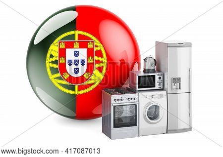 Kitchen And Household Appliances With Portuguese Flag. Production, Shopping And Delivery Of Home App