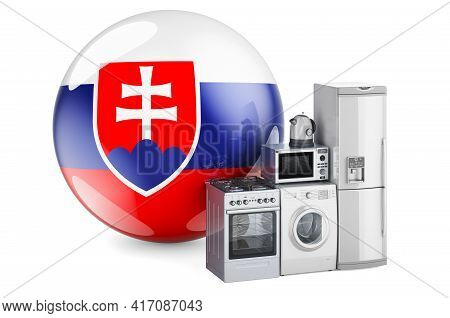 Kitchen And Household Appliances With Slovak Flag. Production, Shopping And Delivery Of Home Applian