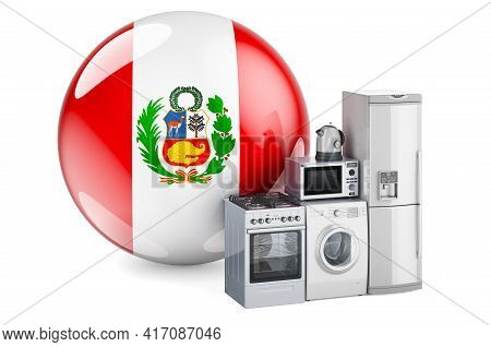 Kitchen And Household Appliances With Peruvian Flag. Production, Shopping And Delivery Of Home Appli