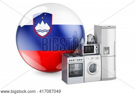 Kitchen And Household Appliances With Slovenian Flag. Production, Shopping And Delivery Of Home Appl