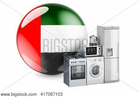 Kitchen And Household Appliances With The United Arab Emirates Flag. Production, Shopping And Delive