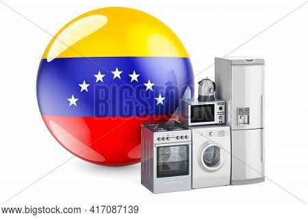 Kitchen And Household Appliances With Venezuelan Flag. Production, Shopping And Delivery Of Home App