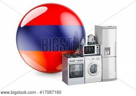 Kitchen And Household Appliances With Armenian Flag. Production, Shopping And Delivery Of Home Appli