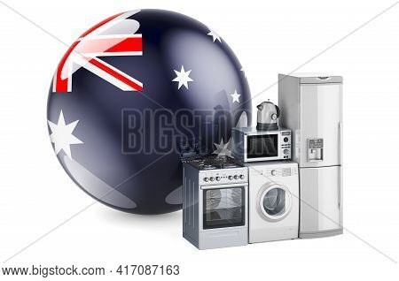 Kitchen And Household Appliances With Australian Flag. Production, Shopping And Delivery Of Home App