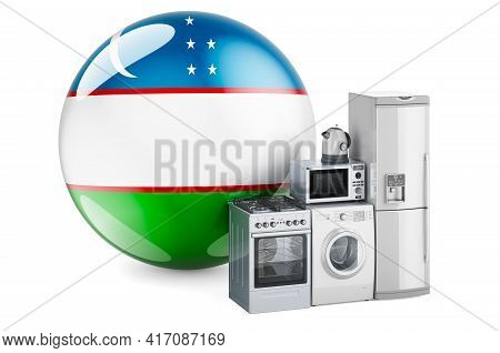 Kitchen And Household Appliances With Uzbek Flag. Production, Shopping And Delivery Of Home Applianc