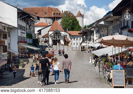 Gruyeres, Switzerland - July 11, 2020: Summer View Of The Swiss Village Of Gruyeres, On July 11, 202