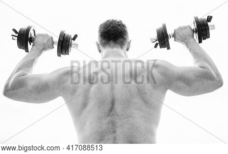 Strength And Motivation. Man Sportsman Weightlifting. Steroids. Athletic Body. Dumbbell Gym. Muscula