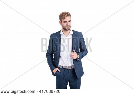 Confident Successful Man Businessman In Businesslike Suit And Wristwatch Isolated On White, Success