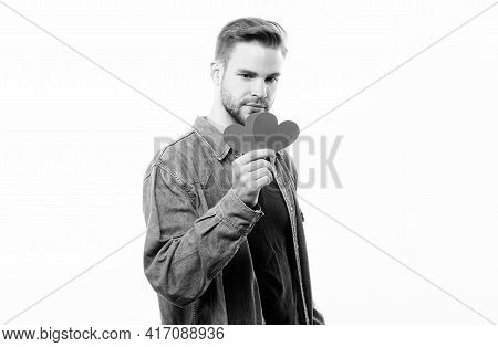 Romantic Macho. Guy Well Groomed Hold Heart White Background. Man With Beard Celebrate Valentines Da