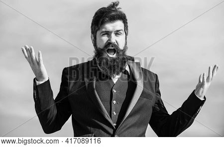 Unexpected Luck. Man Bearded Optimistic Businessman Wear Formal Suit Sky Background. Success And Luc