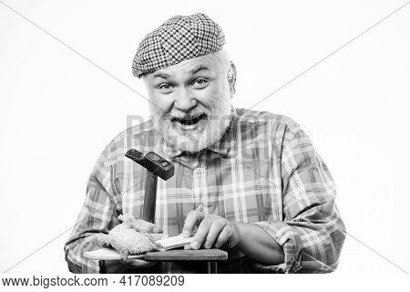 Handmade Concept. Designing Shoe. Craftsman Laborer Worker. Shoe Repair Shop. Senior Master With Ham