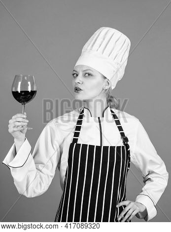 Woman Chef Drink Wineglass. Skilled Sommelier Try Wine. Evaluating Quality Of Wine. Wine Cellar. Hea