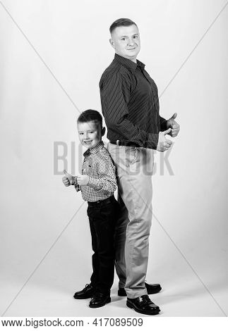 Little Boy With Dad Businessman. Happy Child With Father. Business Partner. Family Day. Childhood. P