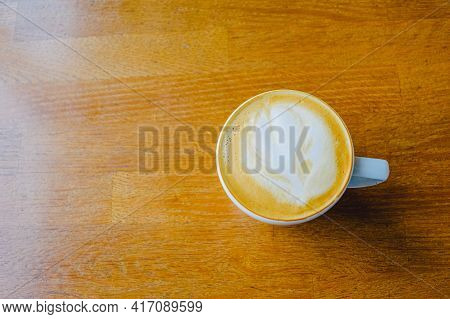 Cup Of Cappuccino On A Wooden Table. Table Coffee Cappuccino, Cup Milk Wooden