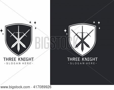 Stylized Image Of Three Swords In Shield Logo Template, Crossed Swords Silhouette Tattoo, Three Musk